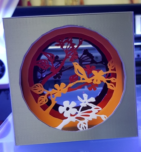 Shadow box with bird 3D Print 21851