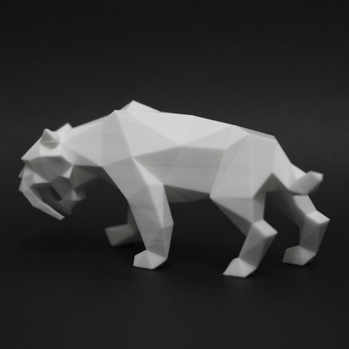 Low Poly Saber Toothed Tiger 3D Print 219