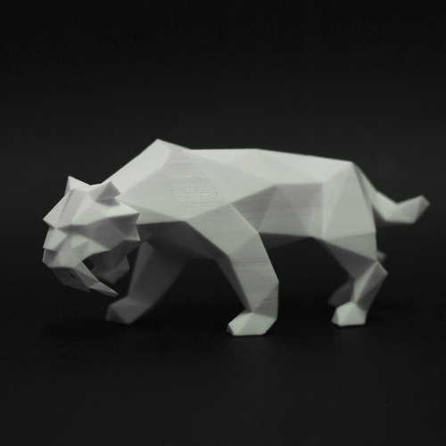 Low Poly Saber Toothed Tiger 3D Print 220