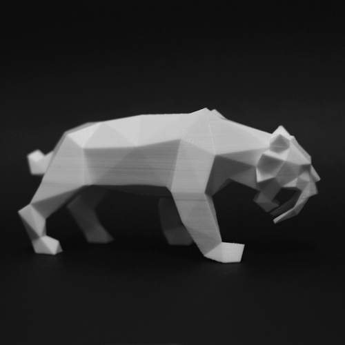 Low Poly Saber Toothed Tiger 3D Print 221