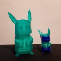 Small Low-Poly Pikachu - Multi and Dual Extrusion version 3D Printing 23372