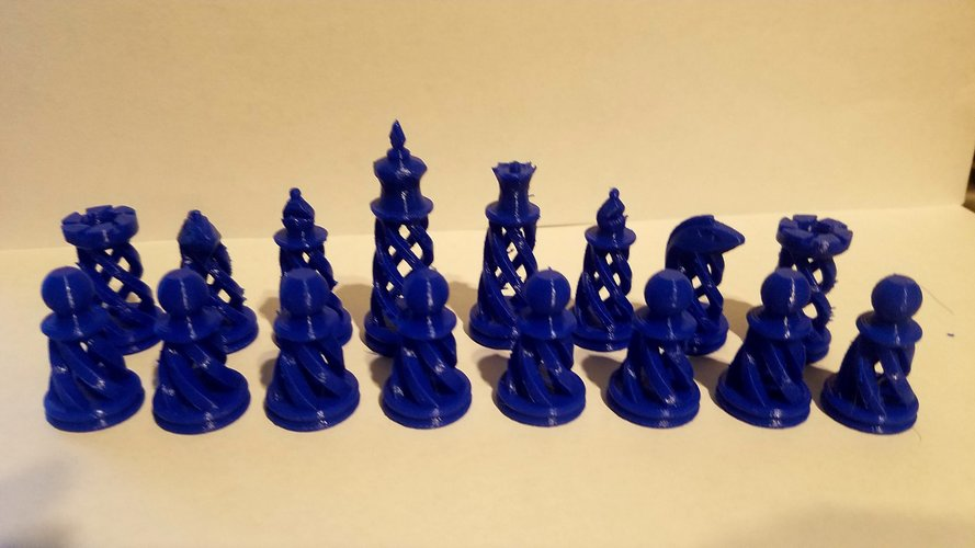 Spiral Chess Set (Large) 3D Print 23382