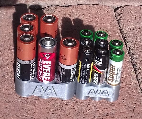 AA & AAA Battery Holder 3D Print 23843