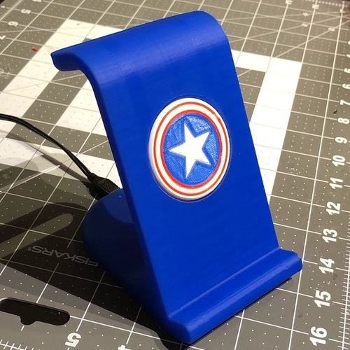$10 IPhoneX Wireless Charging Stand - Captain America 3D Print 25026