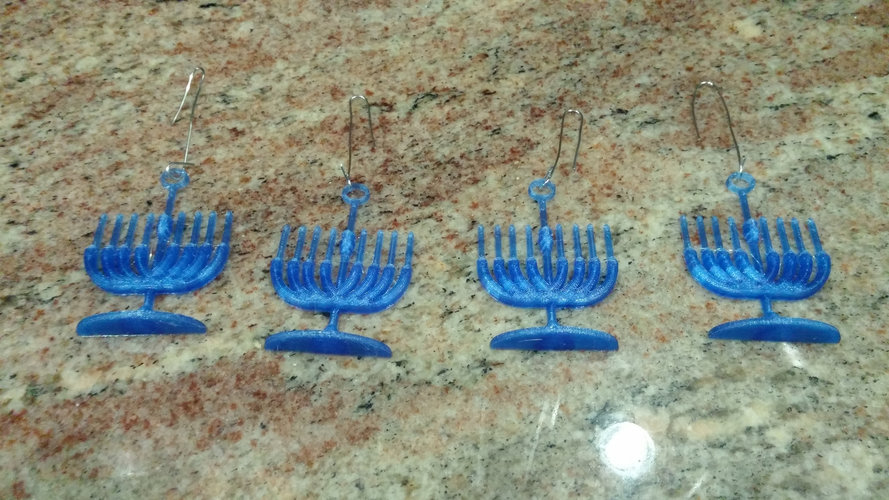 Menorah Holiday Tree Ornament 3D Print 25303