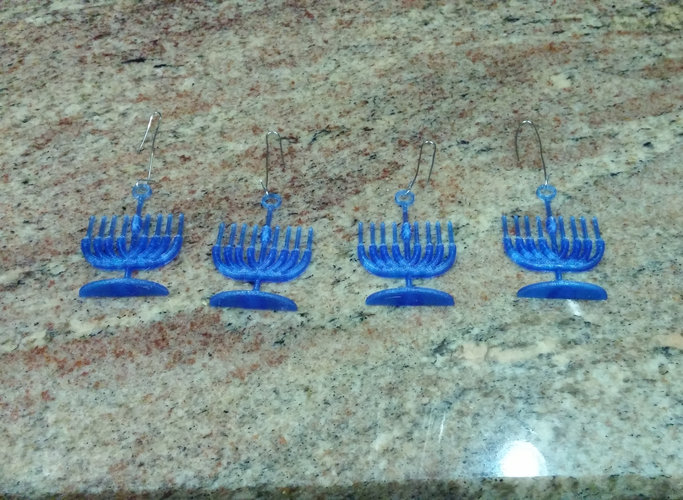 Menorah Holiday Tree Ornament 3D Print 25304
