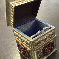 Small Tudor Rose Box Redesigned hinge with pin   3D Printing 25947