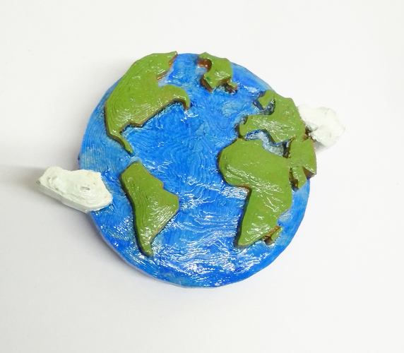 Earth Brooch 3D Print 26039