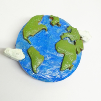 Small Earth Brooch 3D Printing 26039