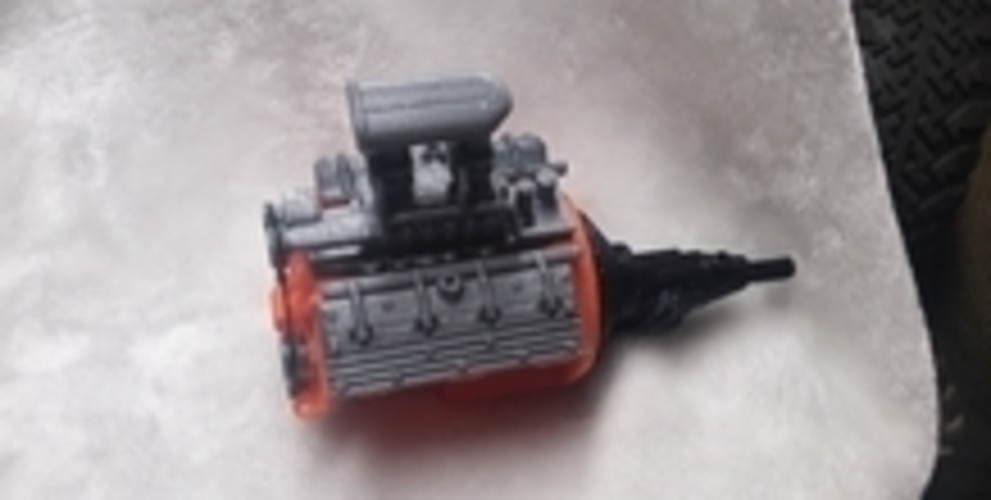 remix of HotRod V8 twin carb blown nostalgic engine by macone1,  3D Print 26086