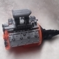 Small remix of HotRod V8 twin carb blown nostalgic engine by macone1,  3D Printing 26086