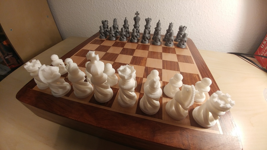 Spiral Chess Set (Large) 3D Print 26100