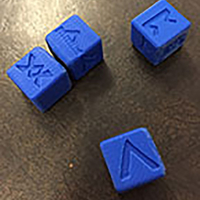 Small 6 Sided Norse Runic Dice Set of 4 3D Printing 26232