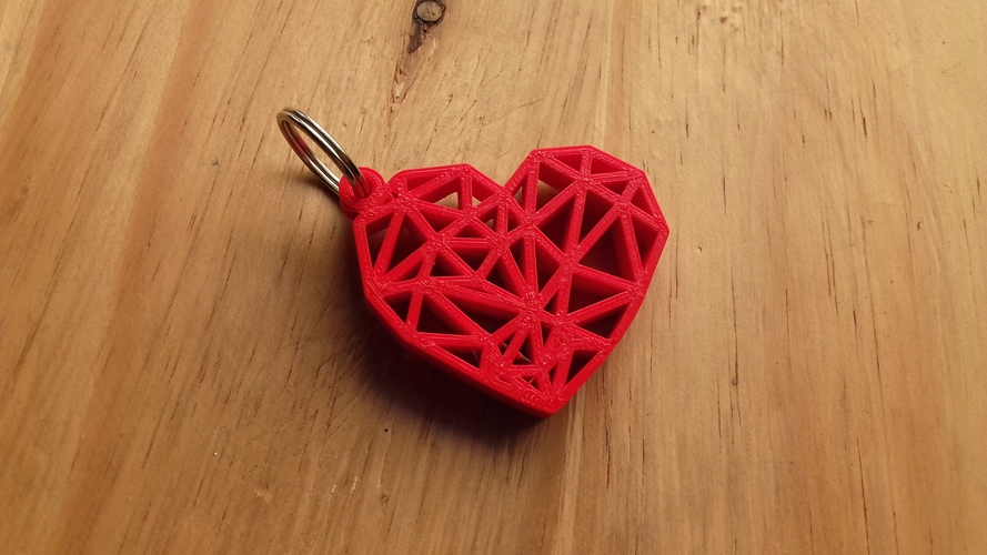 Geometric Heart Key Ring 3D Print 26298