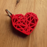 Small Geometric Heart Key Ring 3D Printing 26298