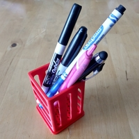 "Small Pen/Pencil Holder - 2"" x 2"" x 3"" - Simple Slotted Design 3D Printing 26482"
