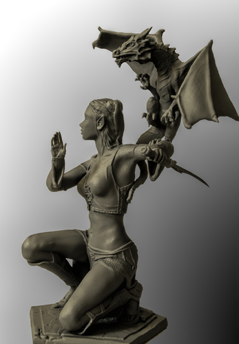 Woman and Dragon 3D Print 27143
