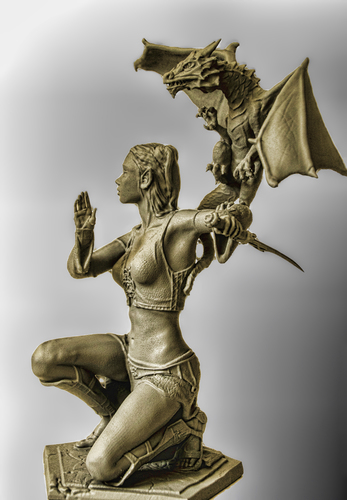 Woman and Dragon 3D Print 27315