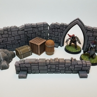 Small Tabletop Terrain - Stone Walls 3D Printing 27714
