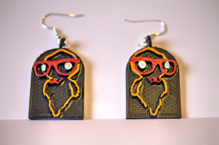 Hipster Ghost Earrings 3D Print 2822