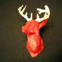 Small Faceted Deer Head 3D Printing 3027