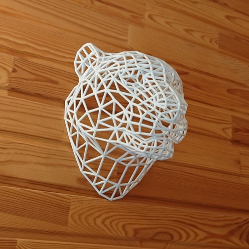 Tiger Head WireFrame Low Poly 3D Print 30365