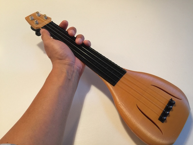 Gourd Shaped Ukulele with Conventional Headstock (Updated) 3D Print 3229