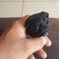 Small Pug dog realistic model, splited and ready for 3d print 3D Printing 33899