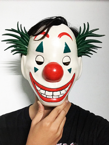Joker Mask 2019 with hair - Clown mask 2019 - Halloween Mask  3D Print 34616