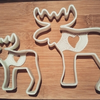 "Small Moose- сookie cutters- 60 and 95mm (or 2,36"" and 3,74"") (Free) 3D Printing 34706"