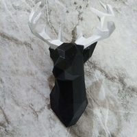 Small Faceted Deer Head 3D Printing 35298