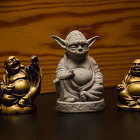 Small Improved Yoda Buddha w/ Lightsaber  3D Printing 3817