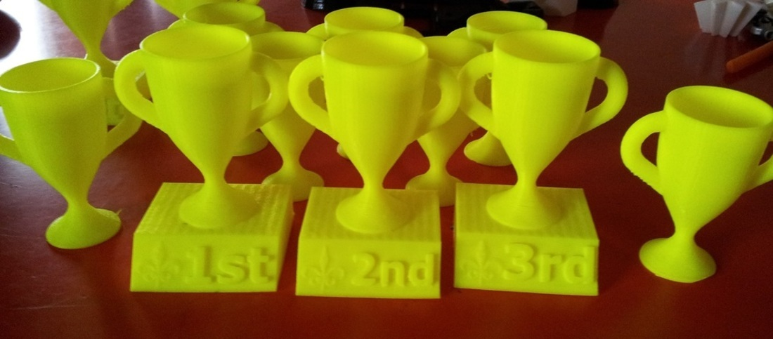 1st, 2nd, and 3rd place trophies with Fleur de Lis 3D Print 389