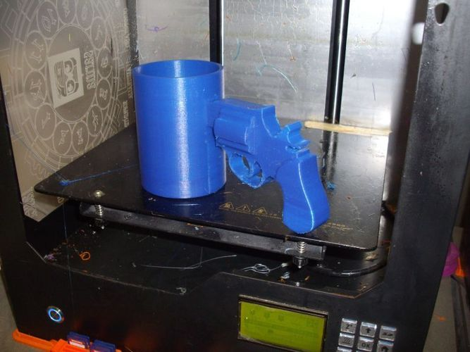 Cup with Gun Handle 3D Print 5088