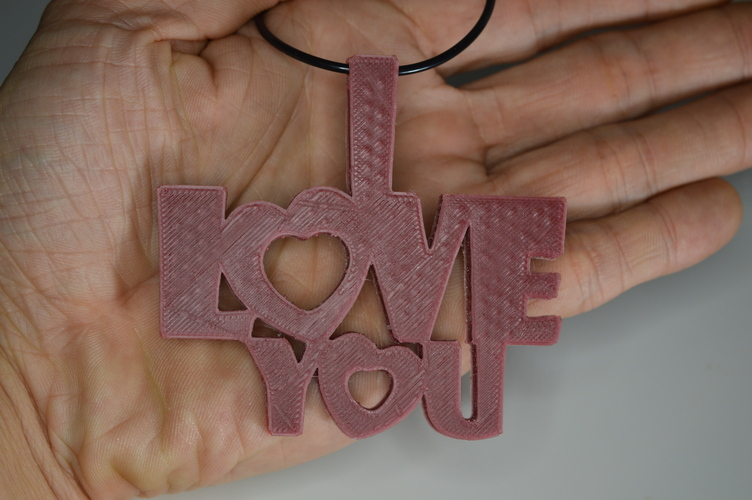 Special Valentine's Day I Love You Keychain Hanger Necklace 3D Print 5743