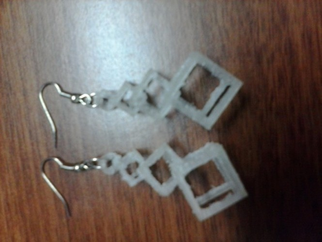 Interlocking Square Earrings 3D Print 909