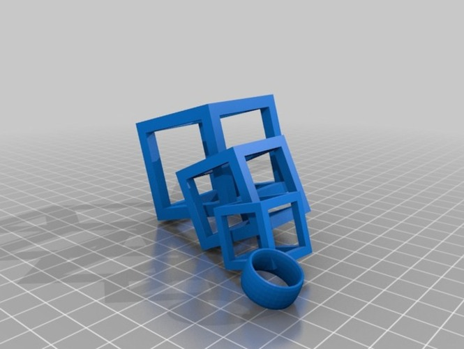 Interlocking Square Earrings 3D Print 910