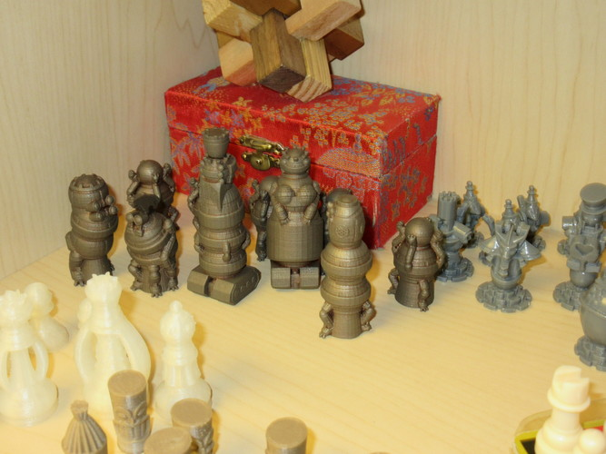 Robots Versus Wizards Chess Set 3D Print 9556