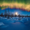 Small winter aurora borealis wide