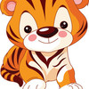 Small engaging tiger cartoon images 7 vector 726744 coloring pages